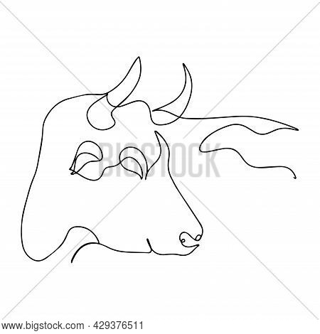 Bull In One Line. Vector Silhouette Of A Bull. Bull Print Ready. One Line Abstract Illustration Of L