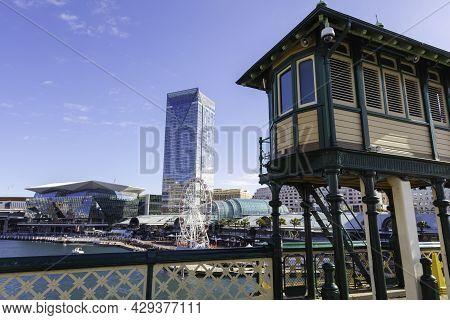 Sydney, Australia - October 14, 2020: Observation Tower At Darling Harbour, Sydney. The Pier Opposit