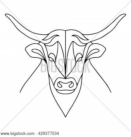 Linear Coloring Of A Bull. Vector Bull Logo. Coloring Book Of A Horned Animal. Vector Drawing Of A B
