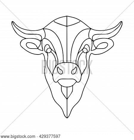 Linear Drawing Of A Bull's Head. Vector Linear Bull Logo. Coloring Book Of A Horned Animal. Bison Si