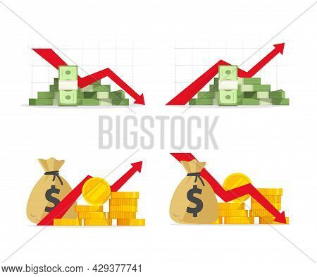 Red Negative Financial Stocks Drop Down As Economic Crisis Fall And Money Income Or Profit Sales Inc