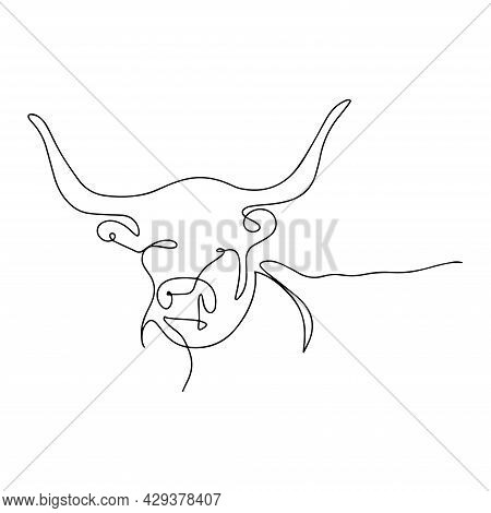 Silhouette Of A Bull. Continuous Line Drawing Of A Bull. Domestic Cattle, Coloring Book. Zodiac Sign