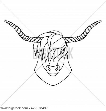 Vector Image Of A Bull With Long Horns. Drawing For Coloring. Buffalo Head. The Head Of A Horned Ani