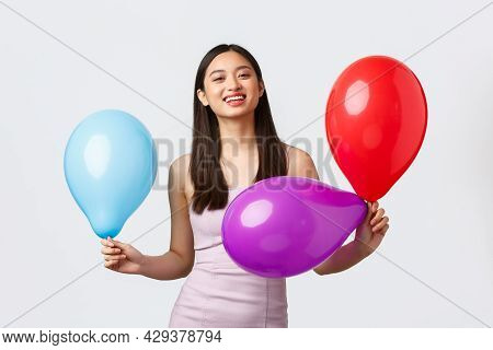 Celebration, Party And Holidays Concept. Upbeat Happy Smiling Asian Woman In Evening Dress, Laughing