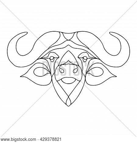 Vector Image Of A Buffalo. Simple Linear Logo. Cattle Icon. Bull Head. Children's Coloring Buffalo.