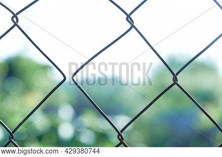 Grunge Aged Weathered Shredded Wire, Copy Space. Old Metal Mesh With Split Links. Concept Of Separat