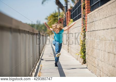 When Living An Active Life Be Happy And Energetic. Energetic Kid Run On Promenade. Fun Childhood