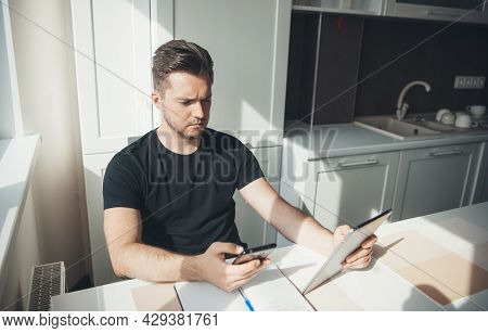 Businessman At Home Using Phone For Chatting. Business Communication. Freelance Work. Home Office. O