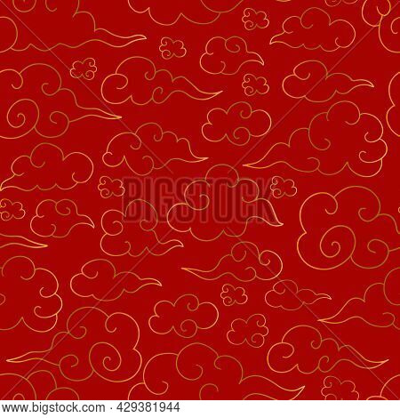 Chinese Traditional Oriental Seamless Pattern With Gradient Golden Clouds On Red Backgound. Vector B