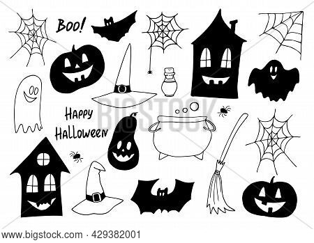 Halloween Vector Set. Hand-drawn Black And White Icons, Halloween Doodle Icon