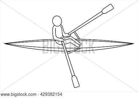 Rowing. Sketch. Vector Icon. The Athlete Swims Backwards. The Man On The Boat Rowing The Oars. Isola