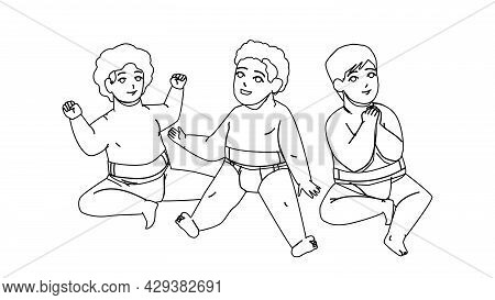 Babies Sitting On Floor And Relax Together Black Line Pencil Drawing Vector. Happy Smiling Multiraci
