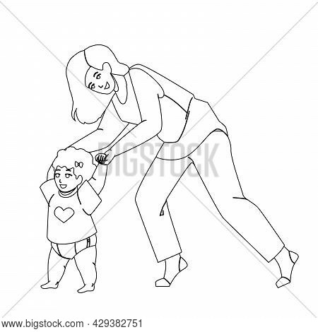 Baby Toddler Taking First Steps With Mother Black Line Pencil Drawing Vector. Baby Toddler Learning