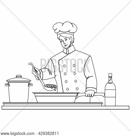 Chef Man Cooking On Restaurant Kitchen Black Line Pencil Drawing Vector. Chef Guy Preparing Deliciou