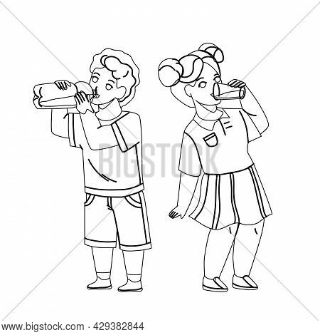 Children Drink Milk From Glass And Bottle Black Line Pencil Drawing Vector. Thirsty Children Drink W