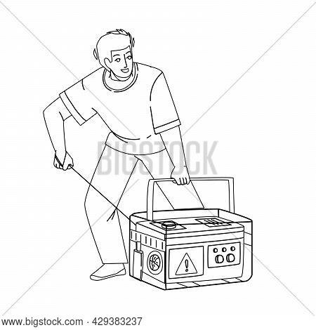 Generator Equipment Starting Young Man Black Line Pencil Drawing Vector. Emergency Generator Machine