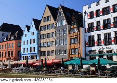 Cologne, Germany - September 22, 2020: Architecture Of Frankenwerft Embankment In Cologne, Germany.