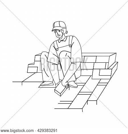 Granite Worker Laying Street Stone Pavers Black Line Pencil Drawing Vector. Granite Worker Man Brick