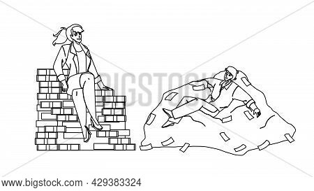 On Heap Of Money Relaxing Businesspeople Black Line Pencil Drawing Vector. Businessman And Businessw