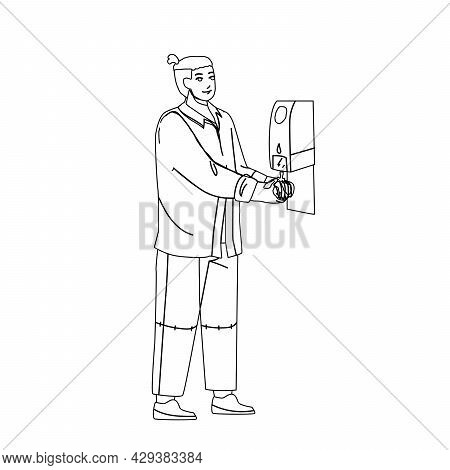 Hygiene Sanitizer Soap For Washing Hands Black Line Pencil Drawing Vector. Man Using Hygiene Antibac