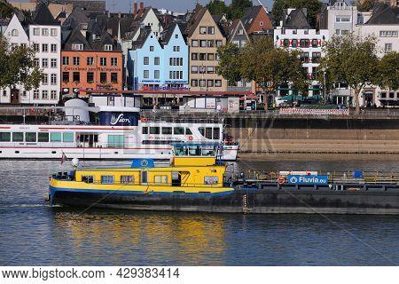 Cologne, Germany - September 22, 2020: Fluvia Brand River Transportation Barge On Rhein River In Col