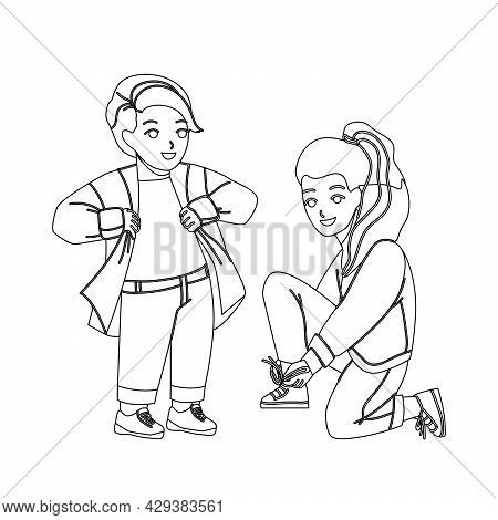 Kids Dressing Up Casual For Walking In Park Black Line Pencil Drawing Vector. Preteen Boy Dressing U