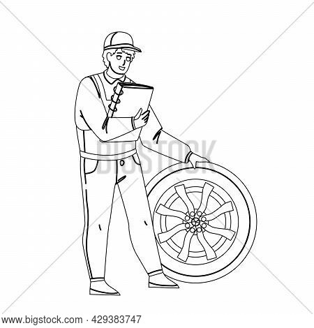 Tire Car Wheel Black Line Pencil Drawing Vector. Vehicle Service Worker Checking And Fixing Transpor