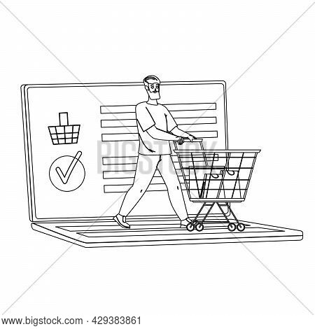 Online Shopping Doing Young Man Client Black Line Pencil Drawing Vector. Guy With Supermarket Cart M