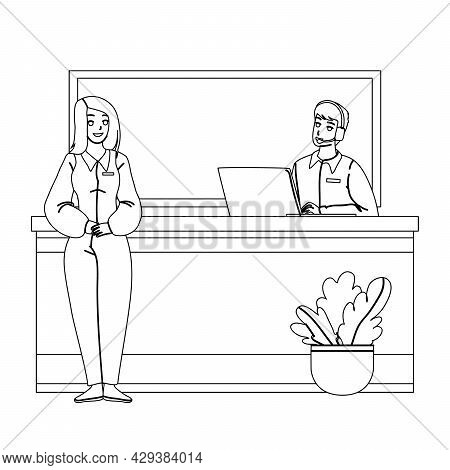 Receptionist Working At Desk In Hotel Lobby Black Line Pencil Drawing Vector. Woman Receptionist Smi