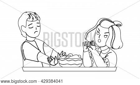 Boy And Girl Children Healthy Refusing Food Black Line Pencil Drawing Vector. Sad Schoolboy And Angr