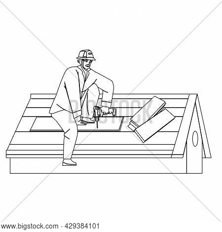 Roofer Installing Wooden Or Bitumen Shingle Black Line Pencil Drawing Vector. Roofer Man Fixing Hous