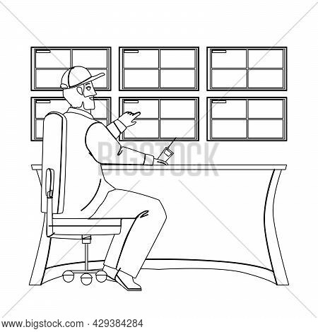 Man Security Worker Monitoring Cctv System Black Line Pencil Drawing Vector. Security Guard Watching