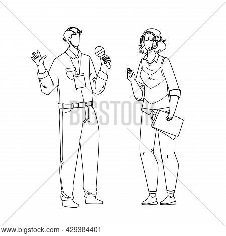 Speaker Man And Woman Speak On Conference Black Line Pencil Drawing Vector. Speaker Boy And Girl Cou