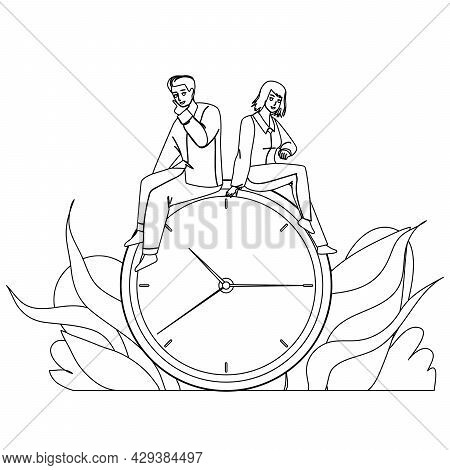Time Management Young Man And Woman Couple Black Line Pencil Drawing Vector. Boy And Girl Sitting On