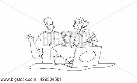 Working Together At Laptop Colleagues Team Black Line Pencil Drawing Vector. Young Men And Woman Wor