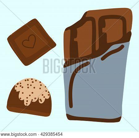 International Chocolate Day, World Chocolate Day, Cartoon Illustration, Chocolate Bar And Candy
