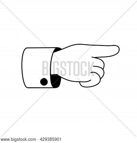 Index Finger. Outline Forefinger Points To Side. Direction Indication. Cartoon Illustration. Human H