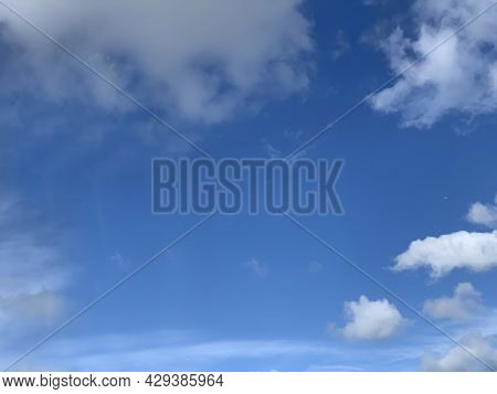 Blue Sky With Clouds. Sky Background. Sky And Clouds Backgrounds. Summer Sky. Sunny Day. Skyscape Ba