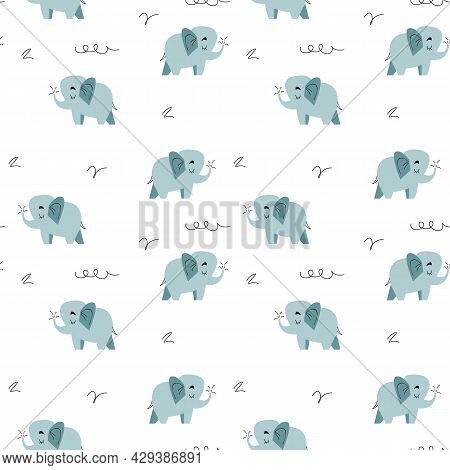 Seamless Elephant Animal Cartoon. Blue Cute Baby Elephants In Doodle Style On A White Background. Ve