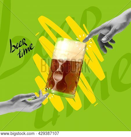 Contemporary Art Collage With Two Hands Touching Beer Glass With Lager, Crafted Cold Beer. Concept O