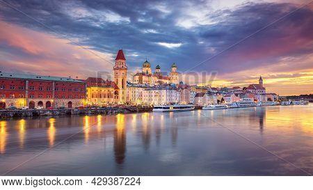 Passau Skyline, Germany. Panoramic Cityscape Image Of Passau Skyline, Bavaria, Germany At Dramatic S