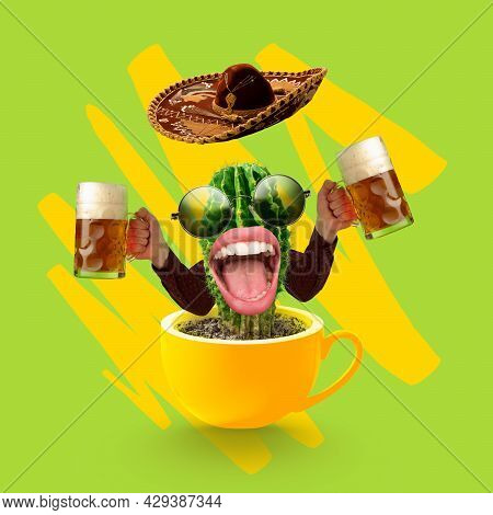 Contemporary Art Collage With Hands Holding Beer Glasses With Light, Lager Cold Foamy Beer. Concept