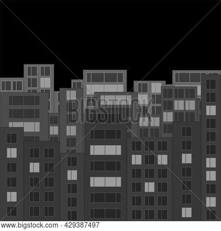 Modern Night City Skyline. Gray Cityscape With Silhouettes Of Houses And Luminous Windows. Tall Hous