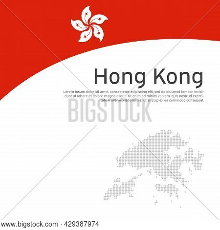 Hong Kong Flag, Mosaic Map On White Background. Wavy Ribbon With The Hong Kong Flag. Vector Flat Ban