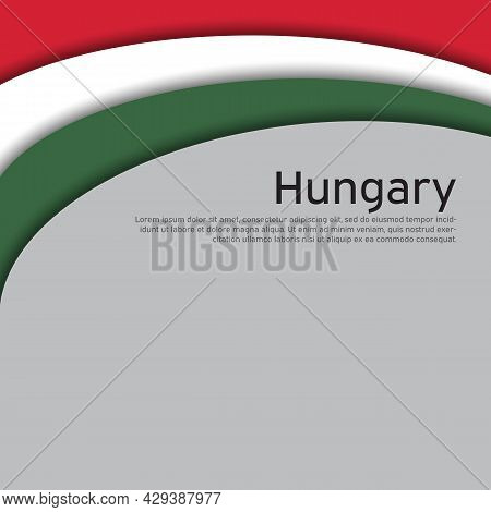 Abstract Waving Hungary Flag. Paper Cut Style. Creative Background For Design Of Patriotic Holiday C