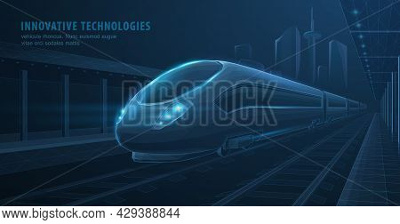 Fast Express Passenger Train On City Station. Futuristic Technology. Railway Station. Future Digital