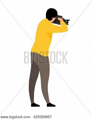 Male Video Operator Semi Flat Color Vector Character. Cameraman Figure. Full Body Person On White. C