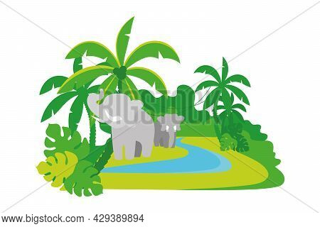 Elephants In Jungle 2d Vector Isolated Illustration. Wild Animals Roaming Rainforest Flat Characters