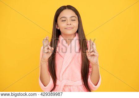 Dreamy Teen Girl Making Wish In Home Terry Bathrobe, Wish