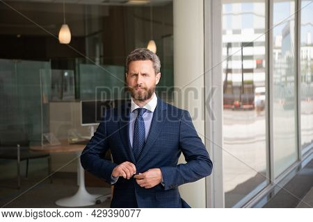 Man Businessman In Businesslike Suit At Business Office, Business Success